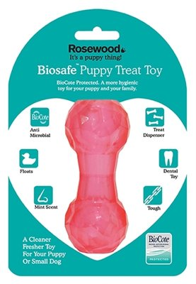 Biosafe puppy snack dumbell roze