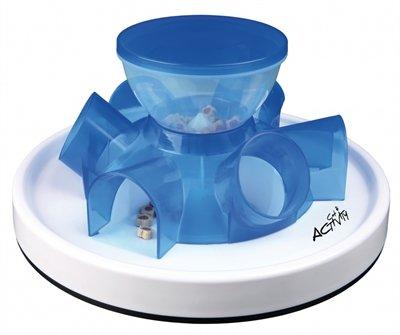 Trixie cat activity tunnel feeder denkspel blauw / wit