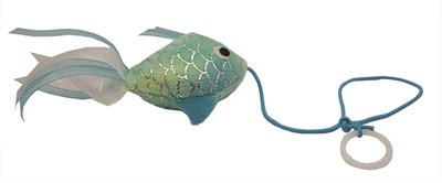 Happy pet mermaid goudvis aan touw blauw