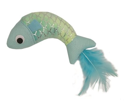 Happy pet mermaid vis met veren blauw