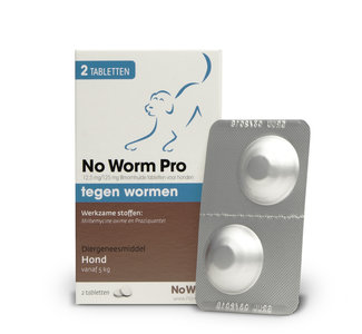 No Worm Pro Hond 5 tot 50 kg - 2 tabletten