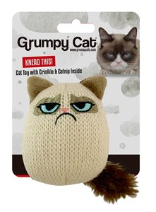Grumpy knit pouncey cat toy