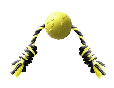 Happy pet tough toys ball tugger geel