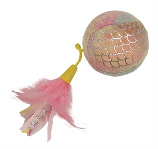 Happy pet mermaid bal groot met veren roze