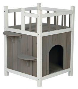 Trixie kattenhuis cat's home met balkon grijs / wit